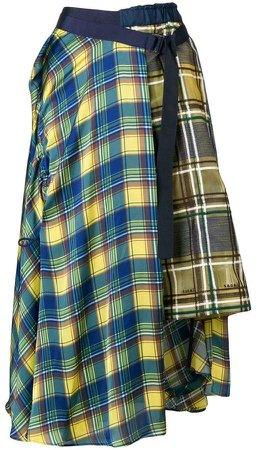 contrast tartan skirt