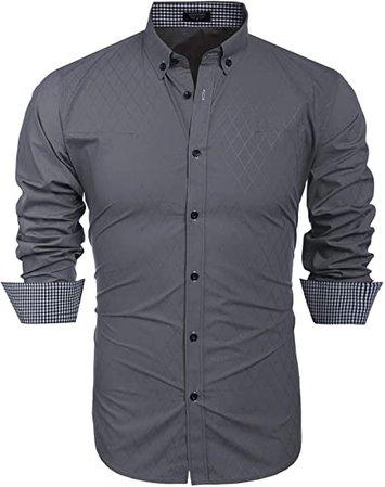 men's slim fit shirt button dress