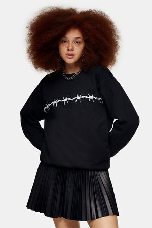 Black Wire Print Sweatshirt