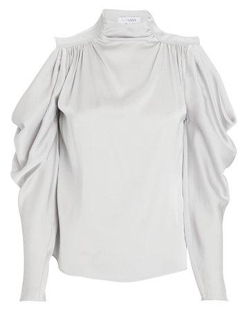 INTERMIX Private Label Krysta Silk Draped Cold Shoulder Blouse   INTERMIX®