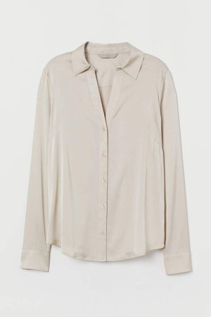 V-neck Blouse - Beige