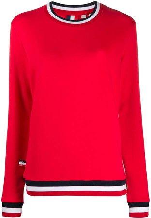 stripe detail cotton blend sweatshirt