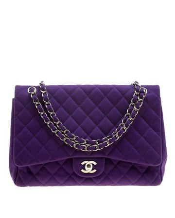 Lyst - Chanel Quilted Jersey Maxi Classic Single Flap Bag in Purple