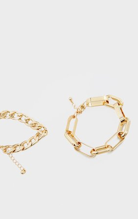 Gold Chunky Assorted Chain Bracelet | PrettyLittleThing USA