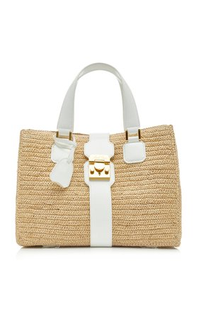 Mark Cross Riviera Leather-Trimmed Raffia Tote