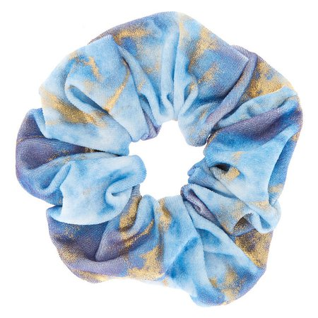 Medium Gold Marble Velvet Hair Scrunchie - Blue | Icing US