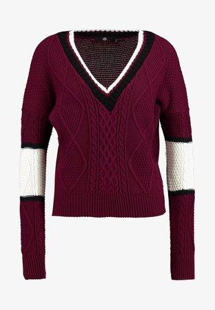 Missguided V NECK COLOURBLOCK CABLE JUMPER - Jersey de punto - burgundy/white - Zalando.es