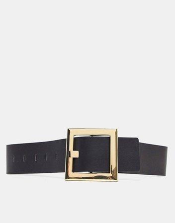 Accessorize oversized square buckle waist belt in black | ASOS