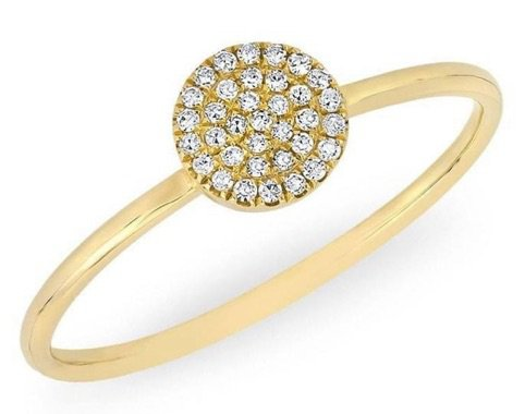 YELLOW GOLD DIAMOND ROUND DISC RING