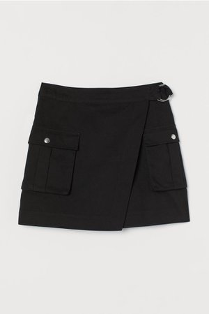 Wrapover Twill Skirt - Black - Ladies | H&M US