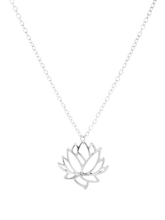 Hollow Lotus Pendant Chain Necklace | ROMWE