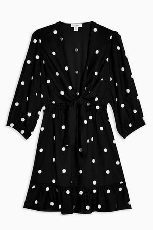 Black Polka Embellished Mini Dress | Topshop