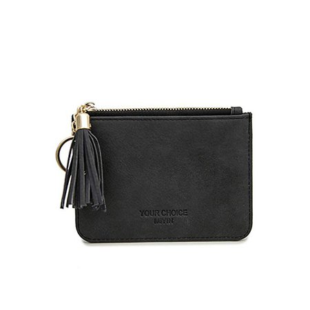 Women Slim Leather Card Holder Case Wallet Change Coin Purse with Key Ring Tassel (Black) at Amazon Women's Clothing store: