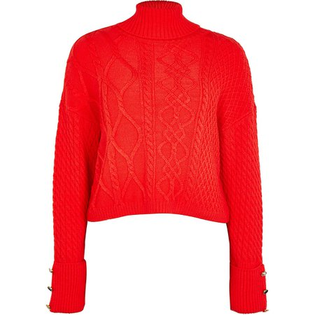 Red cable knit cropped jumper | River Island