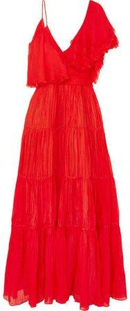 Noche De Rosas Asymmetric Ruffled Silk Maxi Dress - Red