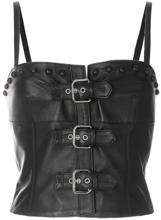buckled leather tank top
