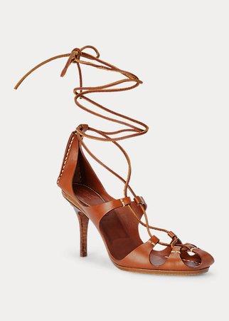 Vachetta Leather Ankle-Wrap Sandal