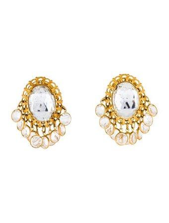 Kenneth Jay Lane Vintage Crystal Clip-On Earrings - Earrings - WKE24534 | The RealReal