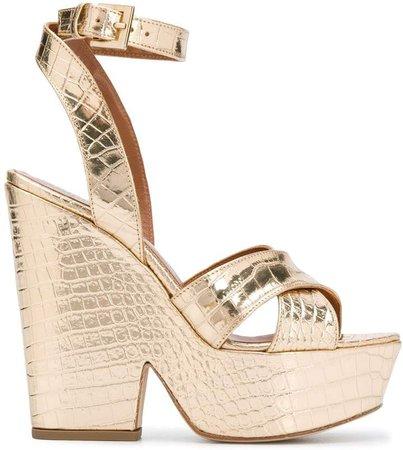 Cross Strap Wedge Heels