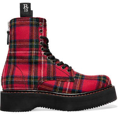 Tartan Canvas Ankle Boots - Red