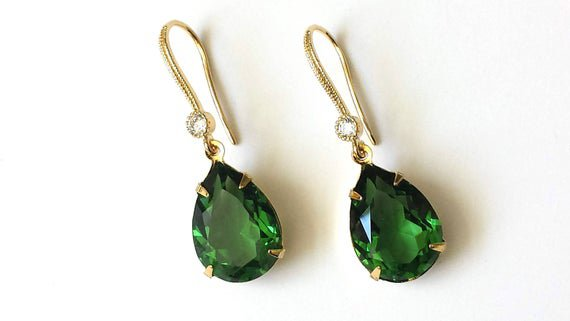 Tourmaline Drop Earrings - Swarovski Green Teardrop Earrings