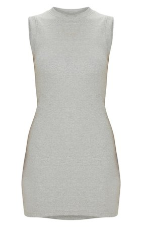 Grey Round Neck Ribbed Mini Dress PLT