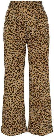 Caressa leopard print high waisted wide leg trousers