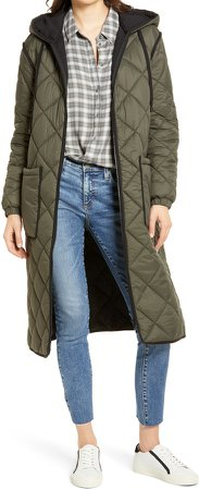 Long Hooded Quilted Coat