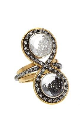 Moritz Glik Black And White Diamond Kaleidoscope Shaker Ring
