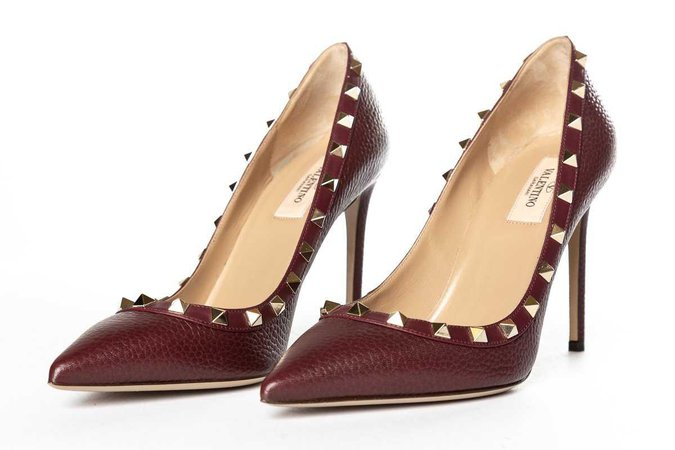 maroon Valentino heels