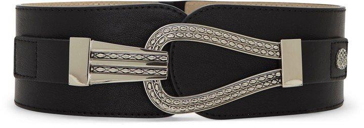 Wide Textured-Buckle Belt
