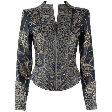 OSCAR de la RENTA A/W 2006 Navy Leather Royal Embellished Jacket Blazer Size 4 For Sale at 1stdibs