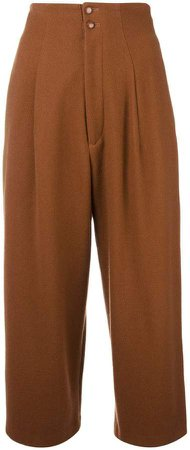 Pre-Owned cropped pleated trousers