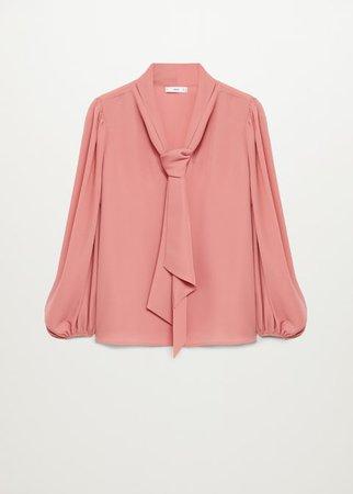 Knot detail flowy blouse - Women | Mango United Kingdom