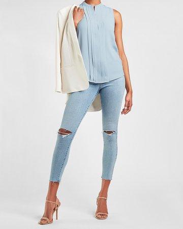 Sleeveless Pleated Front Shirt