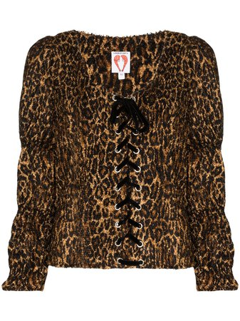 Shop brown Shrimps Jericho printed blouse with Express Delivery - Farfetch