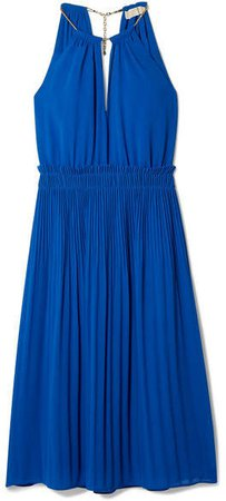 Hayden Chain-embellished Pleated Georgette Dress - Royal blue