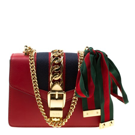 Buy Gucci Red Leather Mini Web Chain Sylvie Shoulder Bag 176271 at best price | TLC