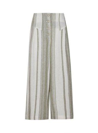 Khaki Stripe Print Button Linen Culotte Trousers | Dorothy Perkins