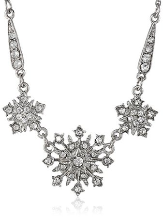 "Amazon.com: Downton Abbey ""Stardust Boxed"" Silver Tone Crystal Belle Epoch Starburst Statement Pendant Necklace, 16"": Downton Abbey Jewelry: Jewelry"