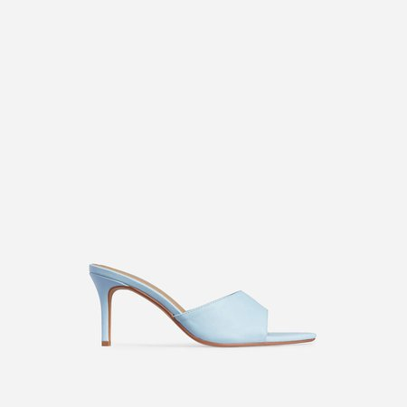 Maelle Pointed Peep Toe Kitten Heel Mule In Light Blue Faux Leather | EGO