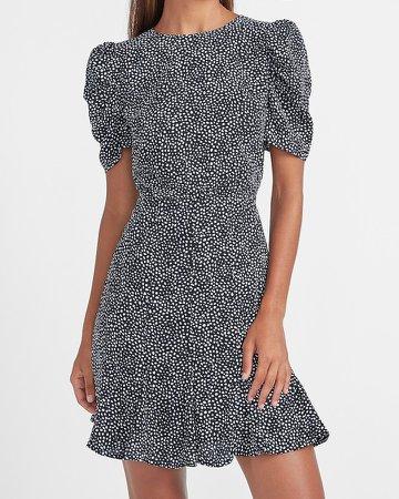 Dot Print Puff Sleeve Dress
