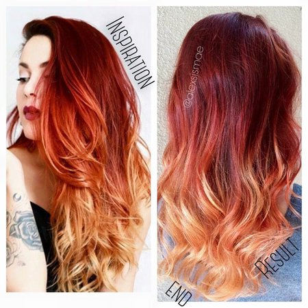 red fire ombre hair