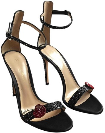 Portofino Black Glitter Sandals
