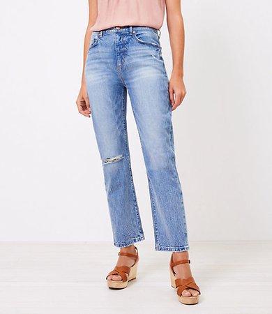 The Petite Destructed High Waist Straight Crop Jean in Authentic Light Indigo Wash
