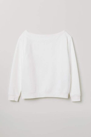 Boat-neck Sweatshirt - White