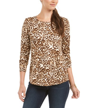 Style & Co Animal Print Top, Created for Macy's & Reviews - Tops - Women - Macy's