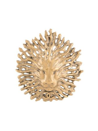 Shop gold Chanel Pre-Owned 2019 Maxi Lion brooch with Express Delivery - Farfetch