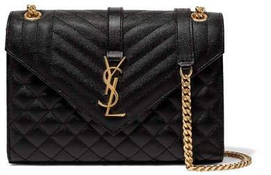 Envelope Quilted Leather Shoulder Bag - Black
