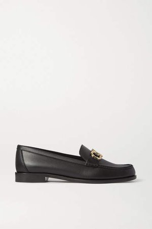 Rolo Embellished Leather Loafers - Black
